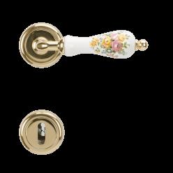 Maniglia in porcellana mod. Perugia con fiori ottone lucido